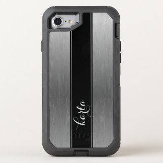 Simple Gray Metallic Texture Black Stripe Accent OtterBox Defender iPhone 8/7 Case