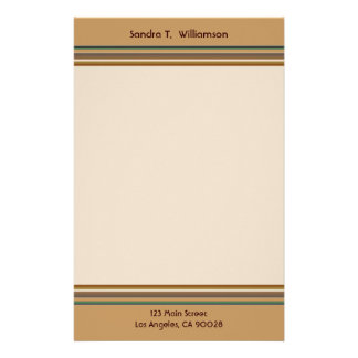 simple green brown stripes stationery