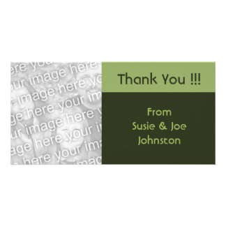 simple green brown thank you personalised photo card