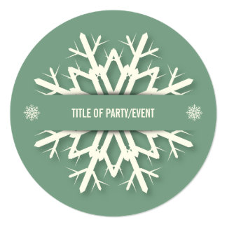 Simple Green Christmas Invitation with Snowflake