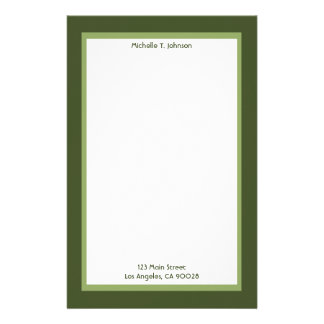 simple green customized stationery