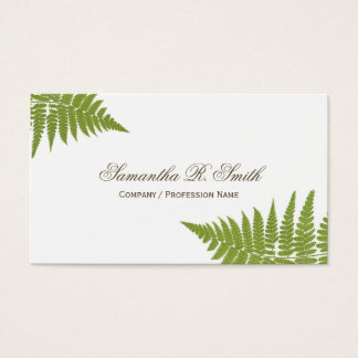 Simple Green Fern Elegant Woodland Design Business Card