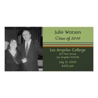 simple green graduation personalized photo card
