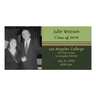 simple green graduation photo card template