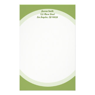 simple green personalised stationery