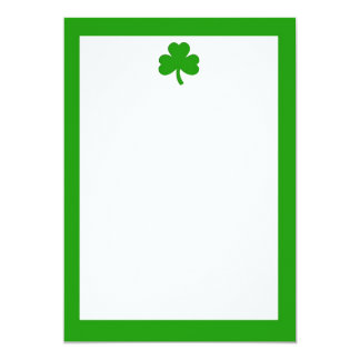 Simple Green Shamrock and Border Invitation
