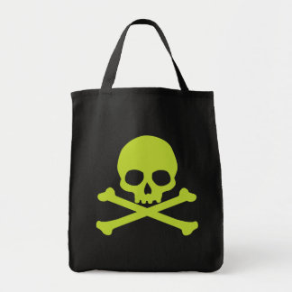 Simple Green Skull and Crossbones Grocery Tote Bag