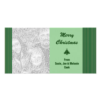 Simple Green Stripe Christmas Card