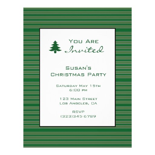 Simple Green Stripe Christmas Personalized Flyer
