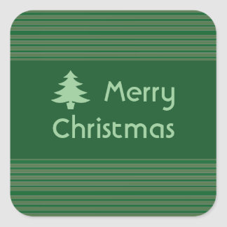 Simple Green Stripe Christmas Square Sticker