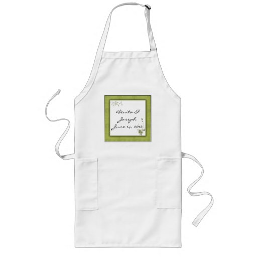 Simple Green Wedding Design Aprons
