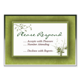 Simple Green Wedding Floral RSVP Large Business Cards (Pack Of 100)