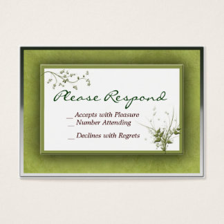 Simple Green Wedding Floral RSVP - Customized Business Card