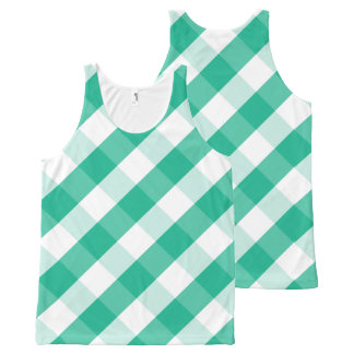 Simple Green white St Patrick gingham pattern All-Over Print Singlet