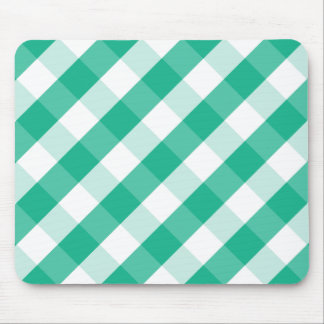 Simple Green white St Patrick gingham pattern Mouse Pad