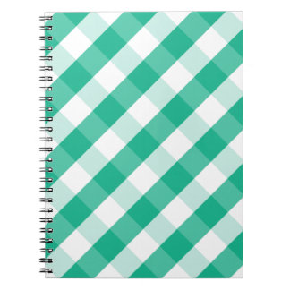 Simple Green white St Patrick gingham pattern Notebook