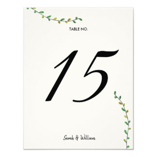 Simple Greenery Table Numbers Card