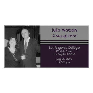 simple grey black graduation customized photo card