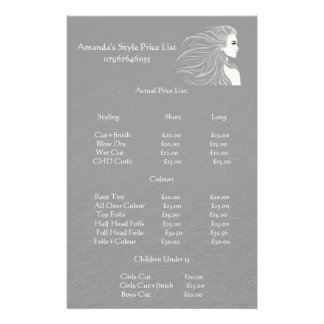 Simple Grey Hair Stylist Price List 14 Cm X 21.5 Cm Flyer
