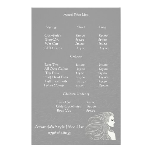 Simple Grey Hair Stylist Price List Flyers