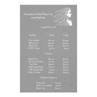 Simple Grey Hair Stylist Price List Flyer
