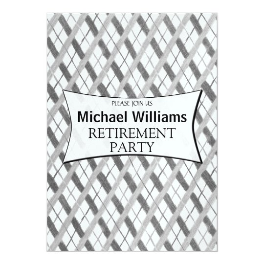Simple Grey Plaid retirement party Card