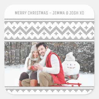 Simple Grey Stitch Christmas Holiday Photo Sticker