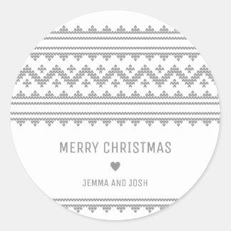Simple Grey Stitch Christmas Holiday Sticker