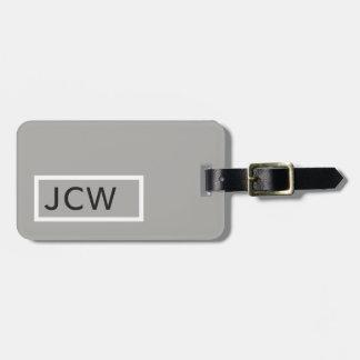 Simple Grey White Frame Bold Monogram Luggage Tag