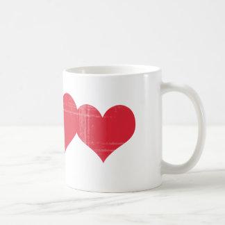 Simple Grunge Hearts Basic White Mug