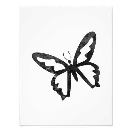 Simple Grungy Black Butterfly Personalized Invite