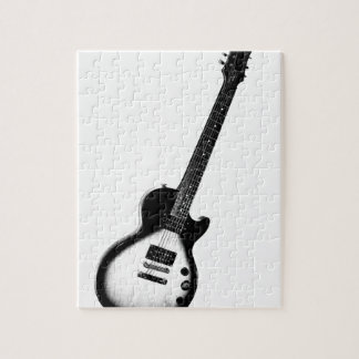 Simple Guitar Black on White or Light Jigsaw Puzzle