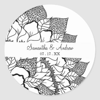 Simple handdrawn floral mandala black white classic round sticker