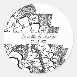 Simple handdrawn floral mandala black white round sticker