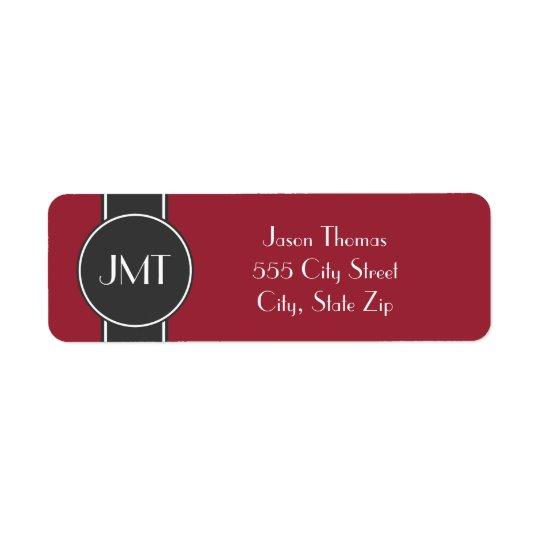 Simple Handsome Monogram Black and Red Return Address Label