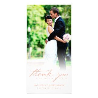Simple Handwrite Script Classy Wedding Thank You Customised Photo Card