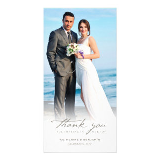 Simple Handwrite Script Classy Wedding Thank You Customized Photo Card