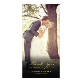 Simple Handwrite Script Classy Wedding Thank You Personalized Photo Card