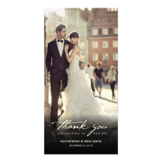 Simple Handwrite Script Classy Wedding Thank You Photo Greeting Card