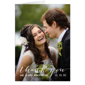 Simple Handwriting   Wedding Photo Thank You Card