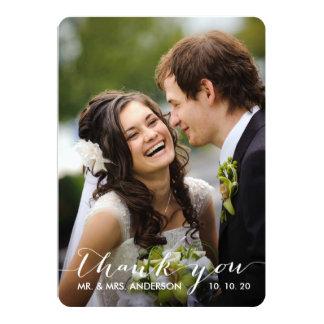 "Simple Handwriting | Wedding Photo Thank You Card 5"" X 7"" Invitation Card"