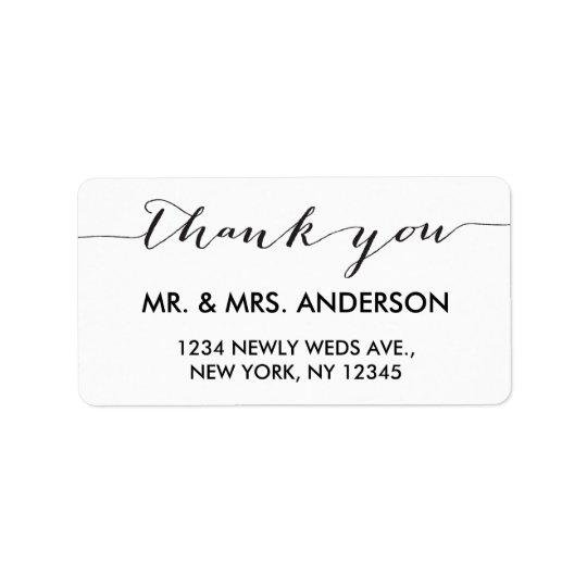 Simple Handwriting Wedding Thank You Address Label