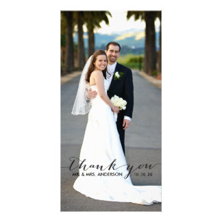 Simple Handwriting Wedding Thank You Photo Card