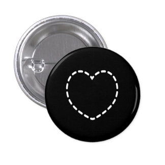 Simple Heart on Black 3 Cm Round Badge