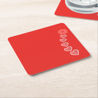 Simple Hearts and Flower Coaster Design