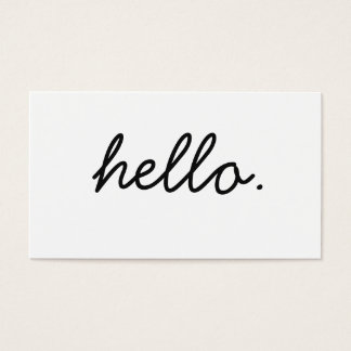 Simple Hello Black and White Professional Business Business Card