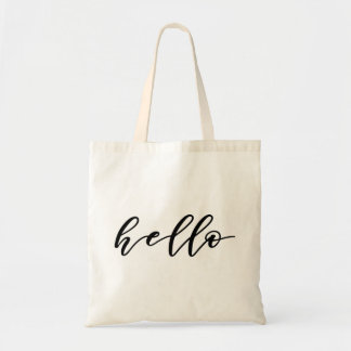 Simple Hello Design in Beautiful Typography Script Tote Bag