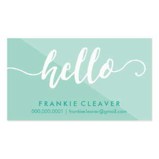 SIMPLE HELLO SCRIPT hand drawn type mint white Pack Of Standard Business Cards