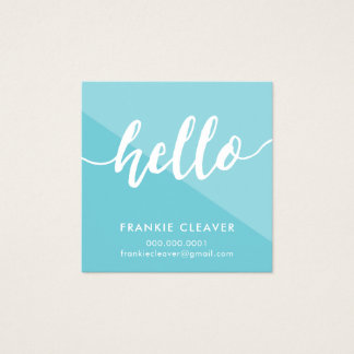 SIMPLE HELLO SCRIPT hand drawn type mod geometric Square Business Card
