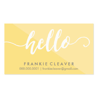 SIMPLE HELLO SCRIPT hand drawn type yellow gray Pack Of Standard Business Cards